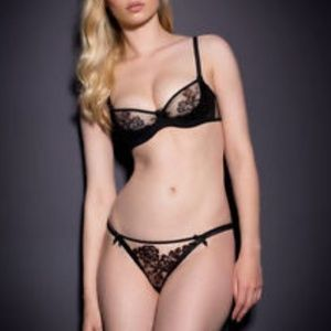 NWT Agent Provocateur Gloria Black Bra + Panty Set